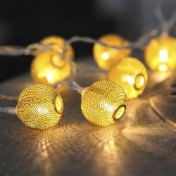 10 LED auksinių kamuoliukų girlianda, 135 cm