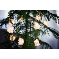10 LED lempučių, matinių eglučių girlianda