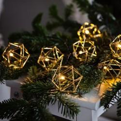 10 šiltos šviesos LED lempučių prizminė girlianda