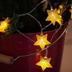 10 LED lempučių - aukso žvaigždučių girlianda